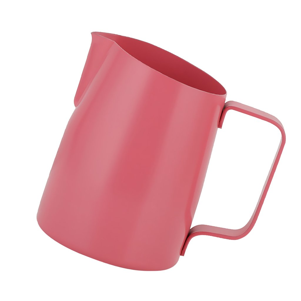 Jili Online Espresso Coffee Pitcher Milk Frothing Latte Jug Art Making for Coffee 450ml/700ml - Pink, 450ml