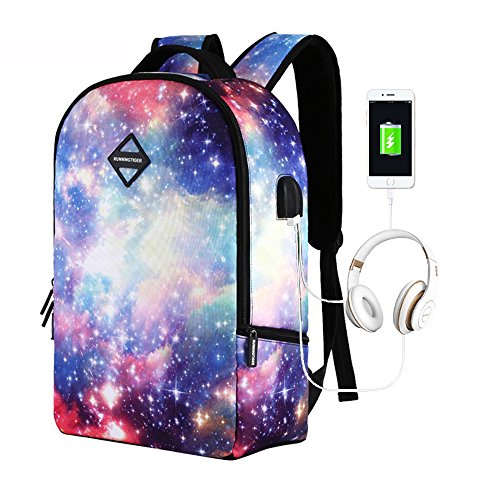 ack with USB Charging Port & Headphone interface for College Student Light Weight Travel Backpack for Women Men (Linen Everyday Pocket Folder)