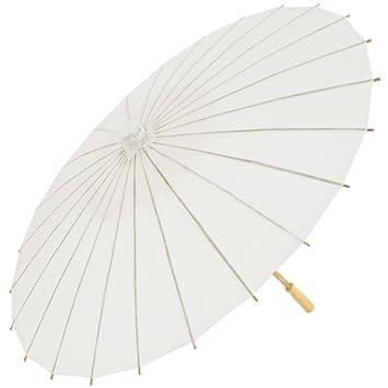 Takestop® Paraguas de Bambú blanco de 42 cm, papel y madera, accesorios para