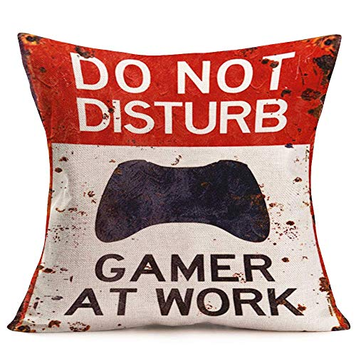 - YANGYULU Game Lover Gift Decoration Throw Pillow Covers Do Not Disturb Gamer at Work Warning Sign Words Lettering Cotton Linen Pillow Case for Couch Sofa Living Room 18