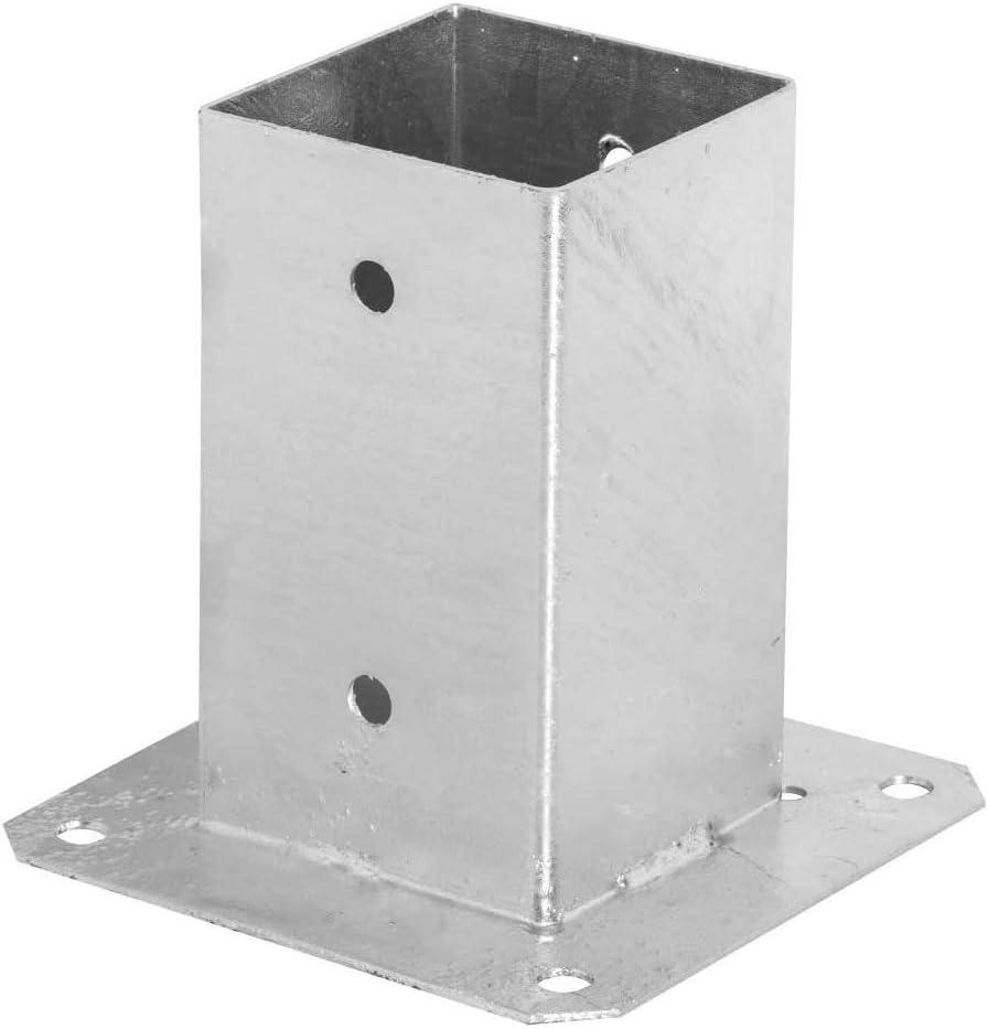 Adgo - Soporte para postes (100 x 100 mm, galvanizado, para montaje en caliente, para suelo, funda deslizante, color plateado: Amazon.es: Bricolaje y herramientas