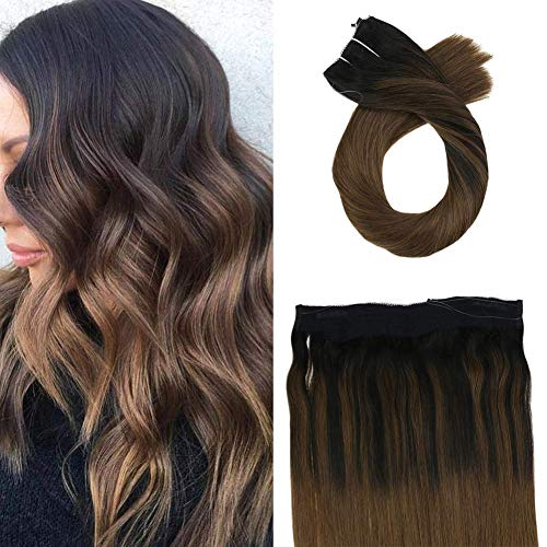 Moresoo Black to Brown Invisible Hair Halo Human Hair Extension