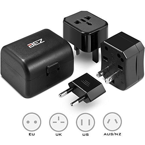 BEZ® Reisestecker Adapter / Universal Reiseadapter / USA Adapter / Universal Reisestecker All-In-One Netzteiladapter passt zu AC Wandadaptern in USA, EU, AU, UK und mehr - Hohe Qualität, SGS, CE Prüfung