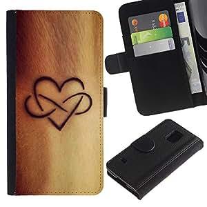 KLONGSHOP / Tirón de la caja Cartera de cuero con ranuras para tarjetas - Infinite Love Ink Golden Brown - Samsung Galaxy S5 V SM-G900