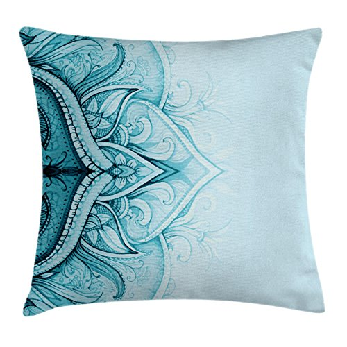 Ambesonne Mandala Throw Pillow Cushion Cover, Traditional Ethnic Ornamental Lace Border with Swirled Flower Lines Eastern Folk Artwork, Decorative Square Accent Pillow Case, 24 X 24 Inches, (Lace Square Dance)