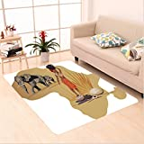 Nalahome Custom carpet stration with Africa Map and Traditional Local Lady Savannah Ceremony Features Tribe Print Multi area rugs for Living Dining Room Bedroom Hallway Office Carpet (6' X 9')