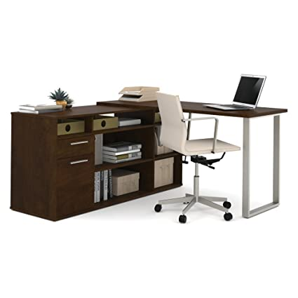 Bestar Furniture 29420 69 Solay L Shaped Desk In Chocolate