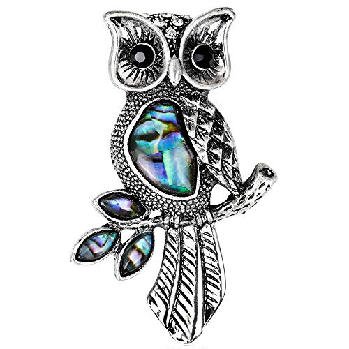 (Stylebar Women Owl Brooch Pins Lucky Night Owls Leaf Branch Animal Retro Brooches Bird Crystal Broaches for Girls Abalone Shell Vintage Silver Tone)
