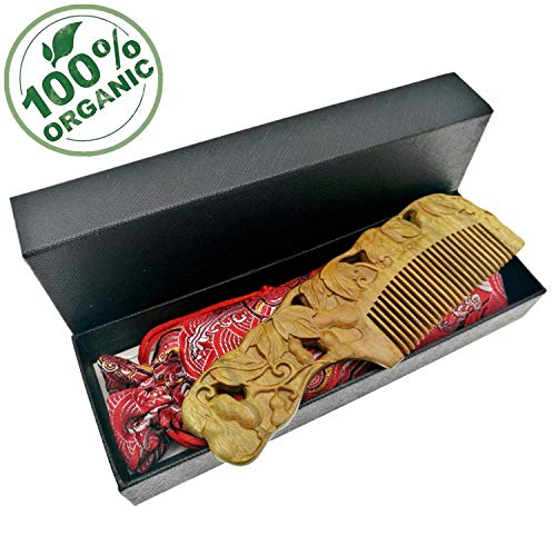 Chinese Wood Comb Handmade Gourd Carved Craft Natural Green Sandalwood Exotic Hair Combs Gift-No Static and No Snag with Box & Bag