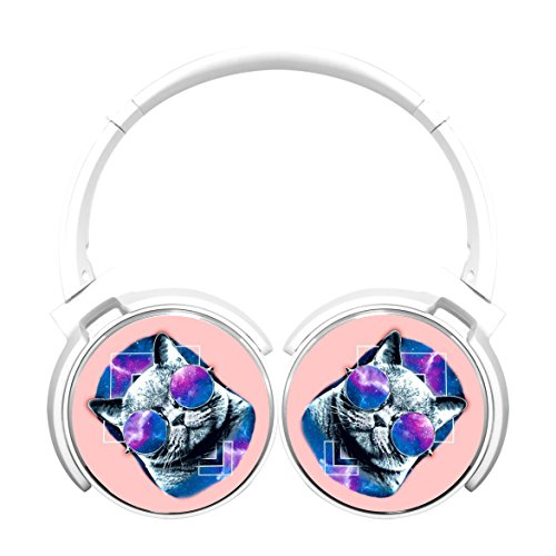 MagicQ New Galactic Hipster Cat Bluetooth Headphones,Hi-Fi Stereo Earphones - Fasion Hipster
