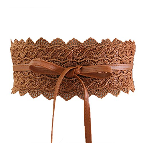 Charming House Women's Vintage Obi Bowknot Leather Wide Waist Cinch Belt (Lace Brown) Faux Leather Sash Belt