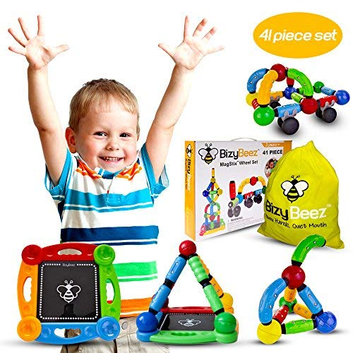 BizyBeez MagStix Sensory Magnetic STEM Toys Building Set for Kids (41 pcs) | Educational Creative and Imaginative Fun for Boys and Girls | Great for Autism ADHD Anxiety & Other Special Needs