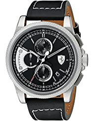 Ferrari Mens 0830275 FORMULA ITALIA S Stainless Steel Watch with Black Leather Band
