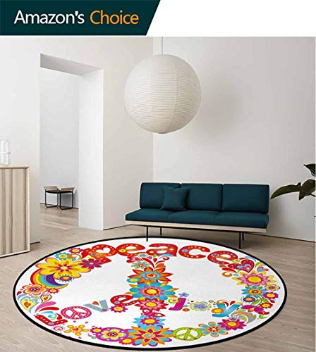 (70S Party Washable Creative Modern Round Rug,Peace Sign With Colorful Flowers And Rainbows Love And Joy Festive Composition Coffee Table Mat Non-Skid Living Room Carpet Round-71 Inch,Multicolor)