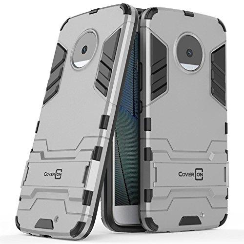 Moto X4 Case, CoverON Shadow Armor Series Modern Style Slim Hard Hybrid Phone Cover with Kickstand Case for Motorola Moto X4 (Moto X 4th Gen 2017) - Silver
