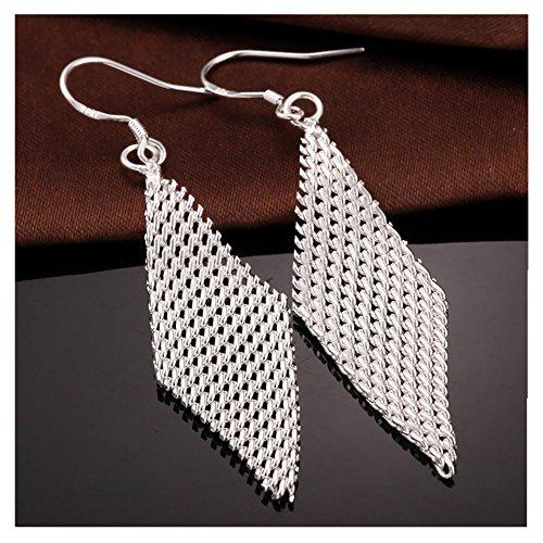 NYKKOLA Stunning 925 Solid Silver Mesh Pendant Hook Earring Dangle Earrings Gift