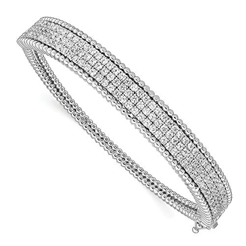 - Sterling Silver Cubic Zirconia Hinged Bangle Bracelet