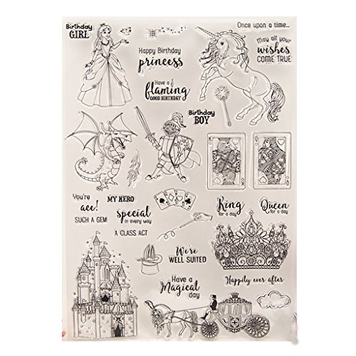 (Seaskyer Knight Castle Clear Stamps Sheet Transparent Silicone Seal For DIY Scrapbooking Craft Card Photo Album Decorative, Christmas Valentine's Day Halloween Gift)