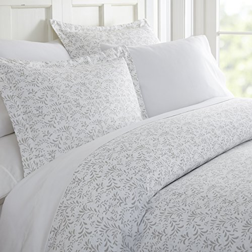 - Becky Cameron 3 Piece Burst of Vines Patterned Duvet Cover Set Queen, Light Gray