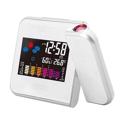 Formulaone Reloj de previsión meteorológica Digital Digital Pantalla LCD Reloj Despertador Calendario Proyector Retroiluminación LED Inicio