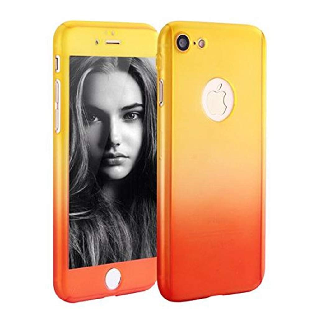 30ef5c9e06e iPhone 6 Plus 6s Plus Full Body Hard Case-Aurora Black Front and Back Cover  with Tempered Glass Screen Protector for iPhone 6 Plus 6s Plus 5.5 Inch  (yellow ...