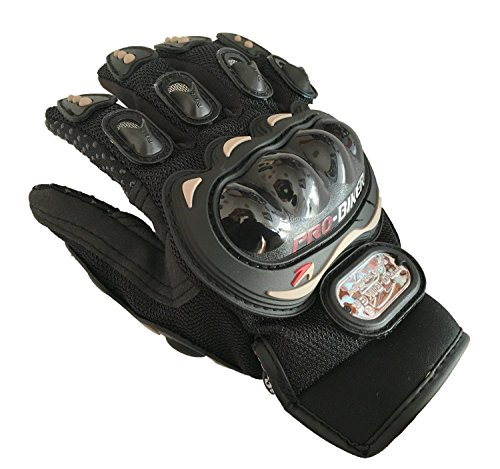 Pro-Biker Bicycle Short Sports Leather Motorcycle Powersports Racing Gloves (Black, L) by Sunflower (Image #5)