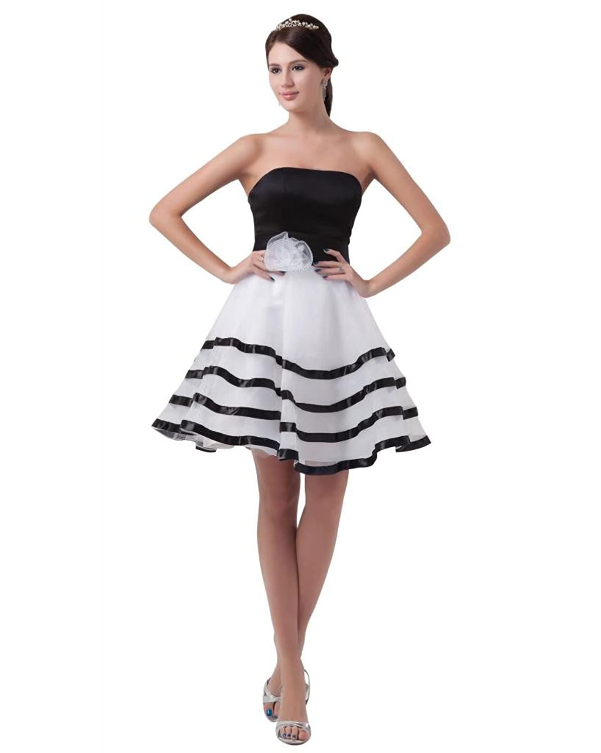Dramatic strapless knee length white organza evening dress TY027