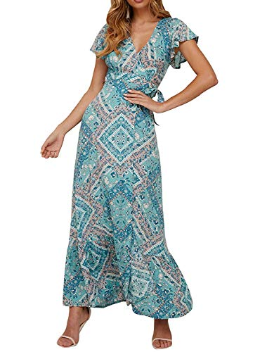 Womens Bohemian Dresses Loose Summer Cotton Semi Formal Shift Tunics Dress Casual Trapeze Beach Wear Printed Tunic Dresses for Women Navy Size S