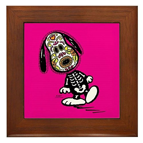 CafePress - Day of The Dog Snoopy - Framed Tile, Decorative Tile Wall Hanging