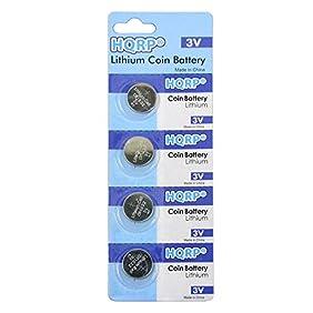 HQRP 4-Pack Coin Battery for Garmin Vivofit Bluetooth Fitness Band 010-01225-08 + HQRP Coaster