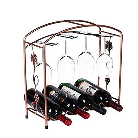 XY& XH Soporte de copa de vino multifunción, estante de vino de hierro de estilo europeo, A.
