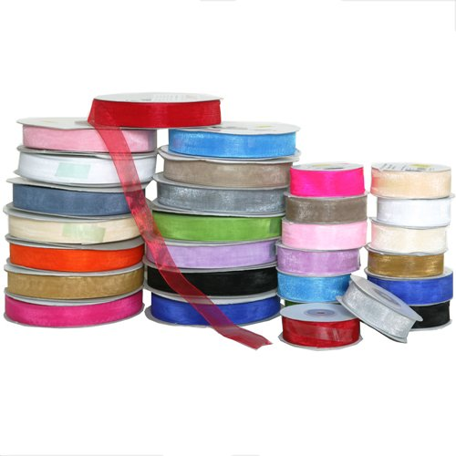 "JAM Paper Sheer Ribbon - 7/8"" x 25 Yards - Hot Pink - Sold individually"