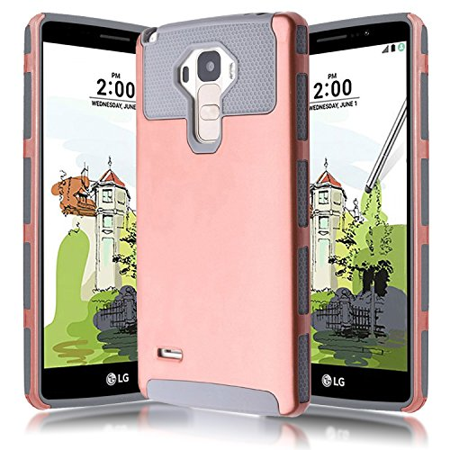 - Kmall 5.8-Inch Dual Layer Hybrid Full Body Armor Case for LG G Stylo / LG LS770 - Rose Gold / Gray