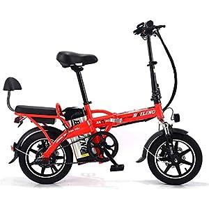 51Fs0dTRmpL. SS300 Drohneks Bicicletta elettrica Pieghevole 14 Pollici Mini Cool Cycling 8A E-Bike Doppia Batteria al Litio con Freno a…