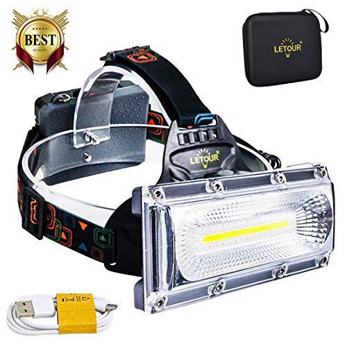 (LED headlamps, LETOUR Rechargeable Headlamp, COB High Bright Flood Light Waterproof Work Light for Camping, Fishing, Jogging, Hiking, Bigger Battery Container, Super Long Working Time)