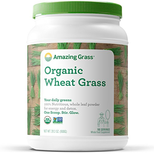 Organic Wheatgrass Powder, by Amazing Grass Super Greens Wheat Grass, 100 Servings, Detox, Alkalize, Whole Leaf, Gluten Free, USDA Organic Vegan, GMO Free, Kosher