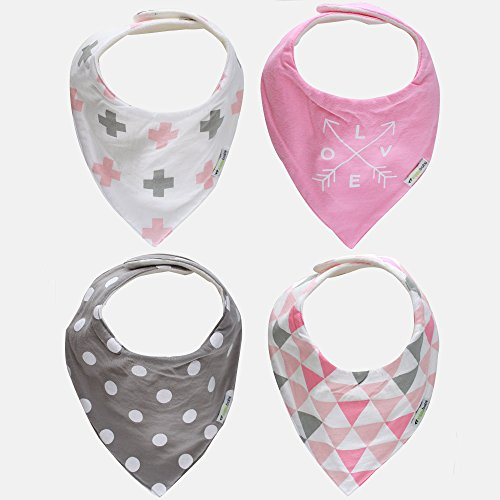 Ziggy Baby Bandana Bibs for Teething Drool Girl Gift Set, Pink/Grey, 4 Pack ()