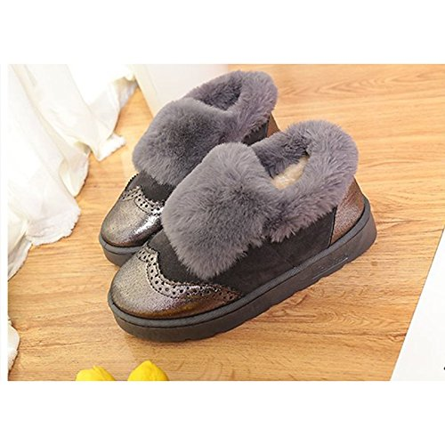 HSXZ Women's Shoes Suede Winter Snow Boots Boots Flat Heel Round Toe Mid-Calf Boots Feather for Casual Black Gray Pink Black Ybsmtzux