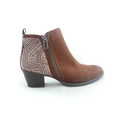 FAUX LEATHER BOOTS MARCO TOZZI WOMENS LADIES ANKLE BOOTS TAN//BROWN NEW IN
