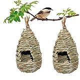 2 Pack Grass Bird Hut, Bird House, Hanging Birdhouse Hummingbird Nesting Chickadee House, Wren Nest Fiber Hand-Woven Bird House Roosting Pocket, Bird Hideaway Sparrow House for Finch & Canary