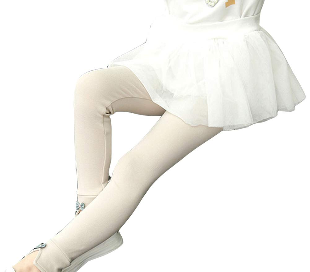 Runyue Bambine Invernali Leggings in Cotone Elasticizzato Pantaloni Sottile Stile Legging Caldo per 3-8 Anni Cachi 130CM