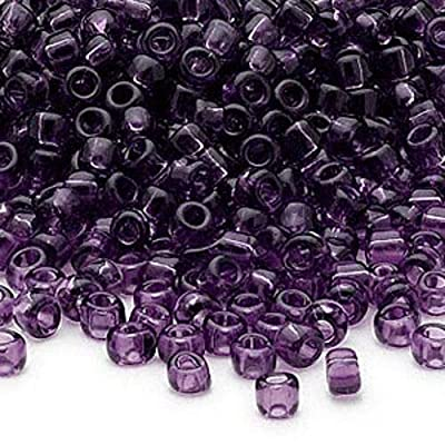 Lot of 200 Matsuno 6/0 Glass Seed Beads Shiny Transparent Colors Spacer Beads (Amethyst Purple) nfLA11: Arts, Crafts & Sewing