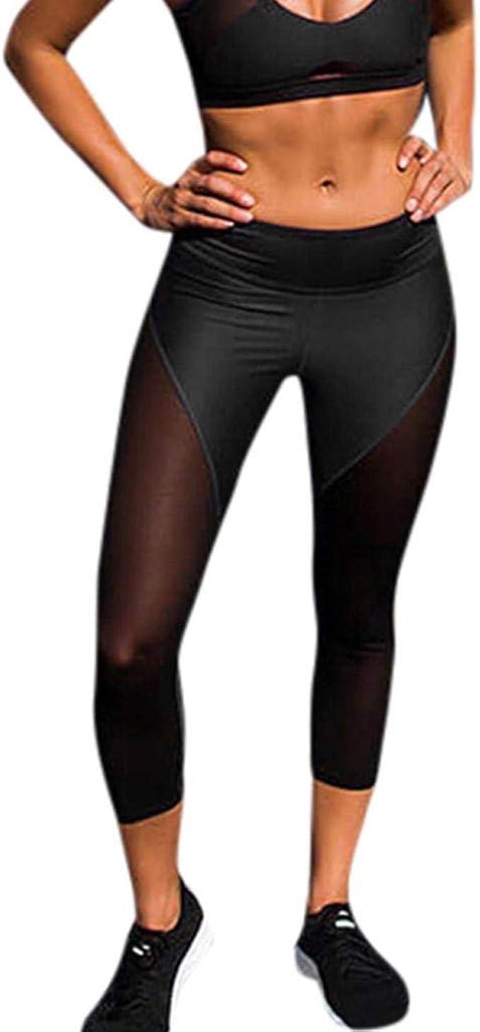 SHOBDW Pantalones Mujer Moda Patchwork Negro Mesh ...