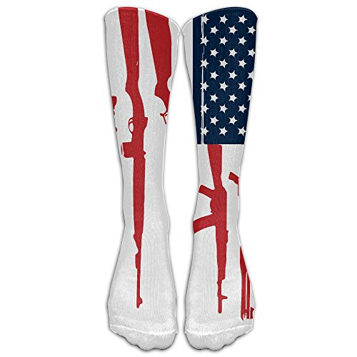 Men Novelty American Flag Gun Classic Over The Calf Sock Athletic Team Stocking Unisex]()