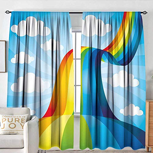 NUOMANAN Decor Room Darkening Wide Curtains Rainbow,Rainbow Road Clouds Abstract Cartoonish Expression Natural Events Ribbon,Sky Blue Multicolor,Insulating Room Darkening Blackout Drapes 120