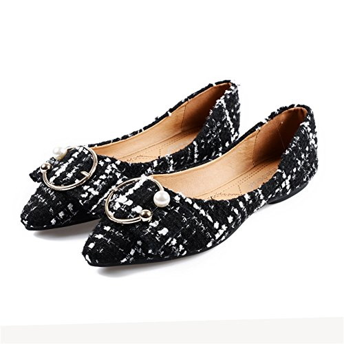 B Toe Heel for Size 2018 Microfiber Flats 42 Pointed Casual Pearl Color Shallow Shoes Women's Comfort Mouth Spring Fall Flat WTnvOUUE8