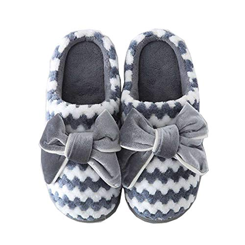 Outdoor Shoes Misab Cozy Women Bow Scuffs 1 Slipper Slippers Grey House Velvet Indoor HwHTqZF