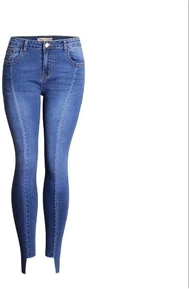 Tangyuan Vaqueros Empalmados De Talla Grande Para Mujer Con Bolsillos Traseros Falsos Pantalones De Mezclilla Ajustados Irregulares Elasticos Pantalones Azul S Amazon Es Ropa Y Accesorios