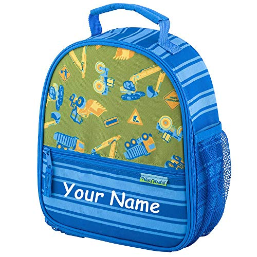 - SJ Stephen Joseph Personalized Construction Equipment All Over Print Back to School Lunchbox Lunch Bag with Custom Name