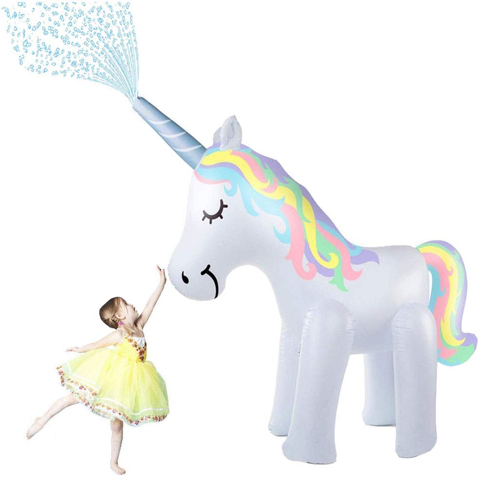 Deceny CB Unicorn Sprinkler Inflatable Unicorn Water Toys- Outdoor Inflatable Ginormous Unicorn Yard Sprinkler for Kids Inflatable Unicorn Yard Sprinklers 5.25 Feet Tall (Unicorn) by Deceny CB